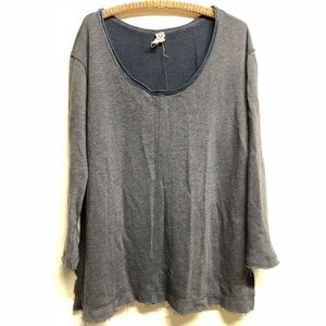 We the free free people split side sweater blue